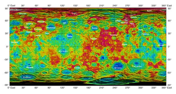 تظهر هذه الخريطة الجديدة ذات الترميز اللوني والمستقاة من بعثة داون التابعة لناسا، ارتفاع وانخفاض التضاريس على سطح سيريس. تمت المصادقة على الأسماء المذكورة في الخريطة من قبل الاتحاد الفلكي الدولي.  المصدر: NASA/JPL-Caltech/UCLA/MPS/DLR/IDA