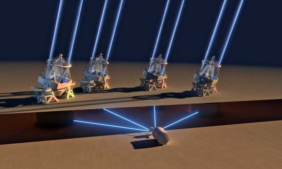 """الأداة """"ESPRESSO"""" تجمع الضوء من التليسكوبات الأربعة -التي يبلغ طول قطر كل مرآة فيها 8.2 مترًا- تجمعه في المقراب العظيم """"VLT"""" التابع ل""""ESO"""" في تشيلي. وبسبب منطقة تجميع الضوء الموحدة، فإن هذا التليسكوب هو أكبر تليسكوب بصري موجود.  حقوق الصورة: (ESO/L. Calcada)"""
