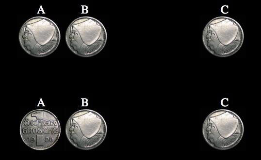 زمن بداية B وC. إذا كانت A وB متماثلتين، فإن C وA متماثلتين فعلا. إذا كانت A وB مختلفتين، فإن قلب C سيجعل A وC متماثلتين. هذا الأمر يعمل باستقلالية عن تراتيب الطرة والنقش (طالما بدأت كلا القطعتين B وC وهما متشابهتين)، لهذا أنت لست بحاجة حتى إلى معرفة أي الوجهين هو الذي إلى الأعلى