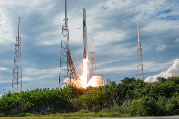 إنطلاق صاروخ فالكون 9 حاملاً على متنه مركبة الشحن دراغون CRS-18 من محطة كيب كانافيرال للقوات الجوية في فلوريدا في 25 يوليو/تموز 2019 لتوصيل الإمدادات إلى محطة الفضاء الدولية.  حقوق الصورة: NASA/Tony Gray and Kenny Allen