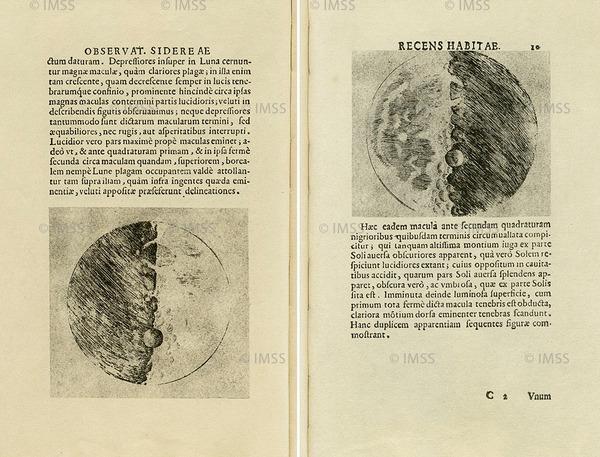 غاليليو غليلي (1564-1642) مرسال النجوم Sidereus Nuncius، فينيسيا، 1610 المكتبة الوطنية المركزية، POST. 110، الصفحتان 8-9