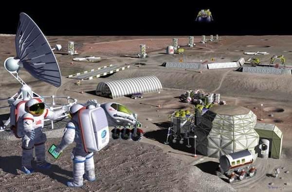 سيسهل بناء مستعمرة على سطح القمر إذا ما استطاع رواد الفضاء الحصول على مواد محلية لعمليات البناء وكل المقومات الداعمة للحياة بصورة عامة .credit: NASA/Pat ROWLINGS