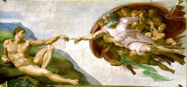 """ربما تكون هذه اللوحة، في سقف كنيسة سيستين، أشهرٍ تصوير لـ """"خلق الإنسان"""". على الرغم من أنّ ذلك قد يكون قصةً مجازيةً رائعة، إلا أن لدينا أدلةً كثيرة تشير إلى تعارض ذلك مع ما يفهمه العلم اليوم. حقوق الصورة: MICHELANGELO / WIKIMEDIA COMMONS"""