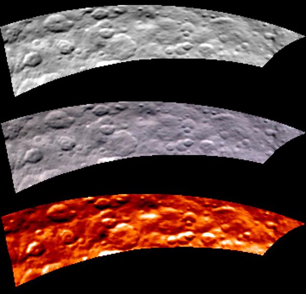 تظهر هذه الصورة التي التُقطت من المركبة داون التابعة لناسا في السادس عشر من أيار/يونيو 2015 جزءاً من نصف الكرة الشمالي المليء بالفوهات كما يبدو بواسطة مقياس الطيف الرسام بالأشعة المرئية وتحت الحمراء (VIR).