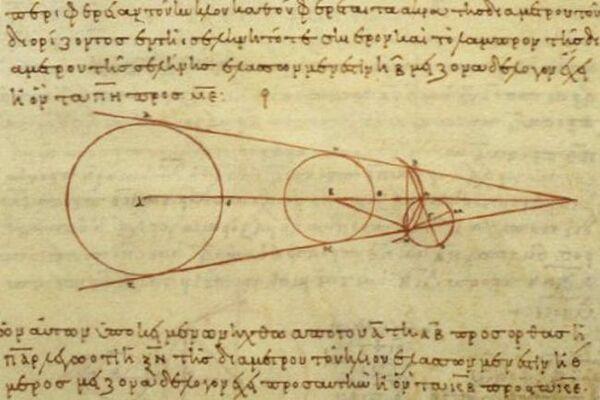 نسخة من القرن العاشر لمخطط أريستارخوس يوضح بعض الهندسة التي استخدمها في حساباته. حقوق الصورة: Wikipedia, CC BY-SA