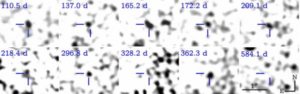 ما تبدو عليه الصور العشر عندما نزيل منها صور فونج. حقوق الصورة: Wen-fai Fong et al, Hubble Space Telescope/NASA