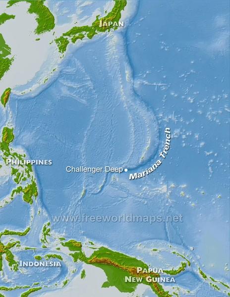 خندق ماريانا يقع في غرب المحيط الهادئ. حقوق الصورة: www.freeworldmaps.net