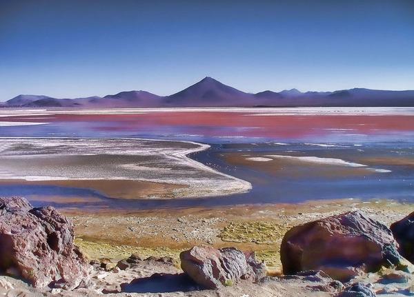 """بحيرة اللاجون الأحمر، هي بحيرة مالحة ضحلة في جنوب غرب بوليفيا، وهي واحدة من عدة بُقَع بالأرض تتأثر ألوانها بصبغات غير تمثيلية (nonphotosynthetic pigments) . وقد نشر إيدي شويترمان (Eddie Schwieterman) طالب الدكتوراه بجامعة واشنطن بحثًا عن الشكل المحتمل لهذه البصمات الحيوية غير التمثيلية (nonphotosynthetic biosignatures) بالكواكب الخارجية أو بتلك الكواكب الواقعة خارج نظامنا الشمسي.  مصدر الصورة: """"نويمي غاليرا"""" (Noemí Galera)/ Flickr"""