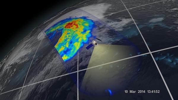 الإعصار في المناطق المدارية الذي شوهد قبالة سواحل اليابان ،تم تصويره بالموجة الصغرى GPM