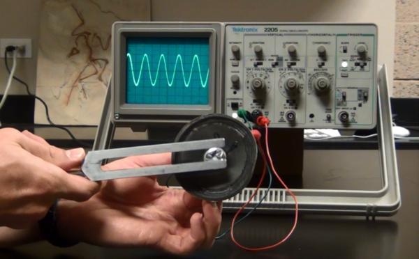 موجة صوتية ناتجة عن شوكة رنانة (في الأعلى)، مقارنةً مع تلك الناتجة عن كلام الإنسان في الأسفل.
