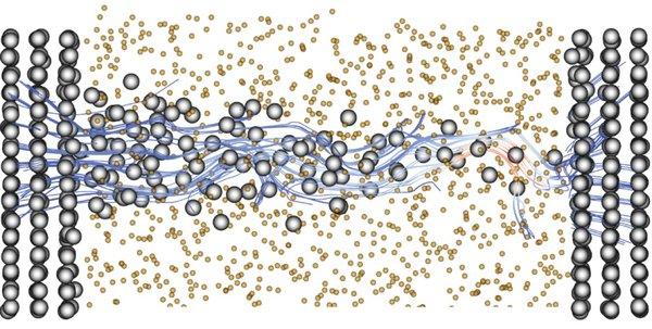 محاكاة حاسوبية للمقياس الذري لخلية ذاكرة الوصول العشوائي ذات الجسور الموصلة CPRAM مُعرضة لجهد كهربائي يساوي واحد ملي فولت 1 mv: مسارات الإلكترونات (خطوط حمراء وزرقاء)، ذرات النحاس (رمادي)، ذرات الأكسجين والسليكون (برتقالي). حقوق الصورة: Mathieu Luisier / ETH Zurich.