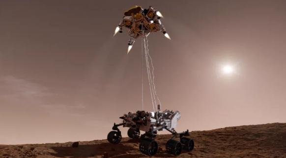 """صورة فنية لـ """"رافعة السماء"""" التي استُخدمت لإنزال بيرسيفيرانس على سطح المريخ بأمان. حقوق الصورة: NASA/JPL-Caltech"""
