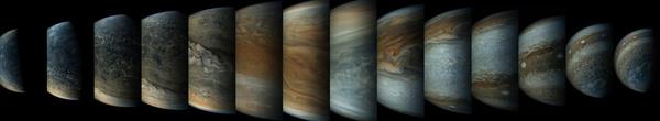 تُظهر سلسلة الصور هذه ذات الألوان المُعززة مدى سرعة تغير المشهد الهندسي بالنسبة لمركبة جونو أثناء تحليقها بسرعةٍ بالقرب من المُشتري. حقوق الصورة: NASA/SWRI/MSSS/Gerald Eichstadt/Sean Doran