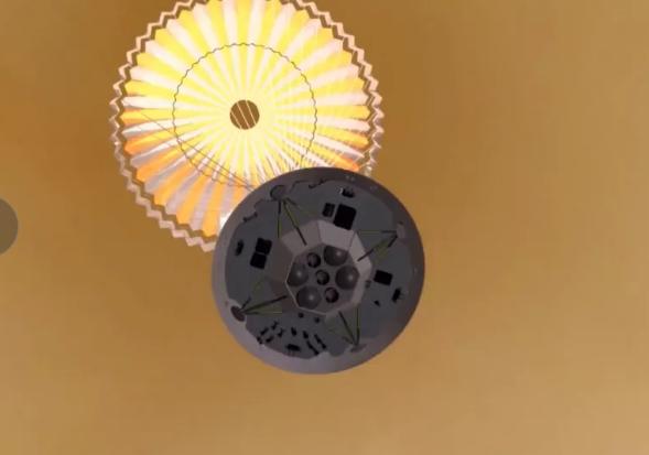 صورة فنية لنزول مركبةتيانوين 1 على سطح المريخ باستخدام مظلاتها. حقوق الصورة:CNSA