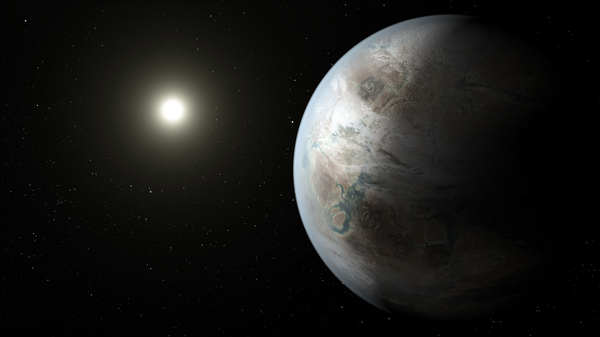 في هذا التصور الفني يعرض الرسام لنا أحد الأشكال المحتملة لكوكب كبلر-452- بي الذي يُعد أول كوكب يُكتشف في المنطقة الصالحة للسكن حول نجمه الشبيه بشمسنا وله حجم قريب من حجم الأرض. حقوق الصورة: : ناسا/مُختبر الدفع النفاث - معهد كاليفورنيا للتكنولوجيا/ تي. بايل Credits: NASA/JPL-Caltech/T. Pyle
