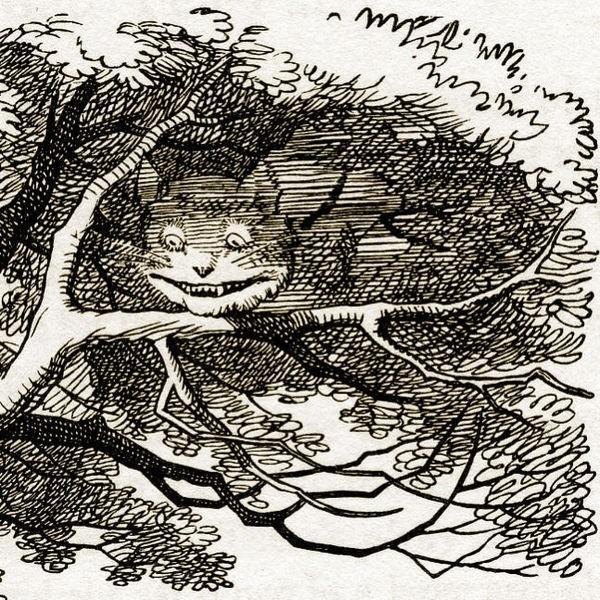 """القط تشيشاير المتلاشي تاركاً ابتسامته العريضة خلفه. الصورة من """"أليس في بلاد العجائب"""" لـ""""لويس كارول"""""""