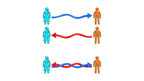 صورة توضيحية لأليس وبوب وكيفية تبادل المعلومة بينهما باستخدام مفهوم التراكب الكمومي حقوق الصورة: Del Santo et al