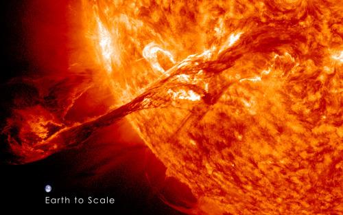 مقارنة بين الشمس والارض
