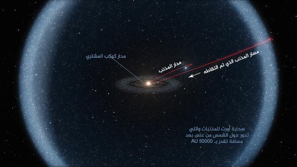 تظهر هذه الصورة نظاماً واسعاً وكبيراً، ولم يتم رسمها بمقياس. تمثل الشمس في منتصف مركز الدائرة مدار المشتري من على بعد مسافة تبلغ 5 AU، ولم يتم تصوير المشتري نفسه. أما سحابة أورت فتكون أبعد من هذا بأكثر من 10,000 مرة.