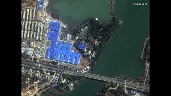 """المرفق الطبي المنبثق (حديث الإنشاء) """"هوو شين شان"""" في مدينة ووهان بالصين، في 21 فبراير/شباط 2020."""