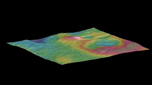تم الحصول على هذا المشهد باستخدام عدة صور التقطتها مركبة داون الفضائية، ويُظهر جبلاً مخروطيّ الشكل يتواجد على سطح سيريس.  المصدر: NASA/JPL-Caltech/UCLA/MPS/DLR/IDA/PSI