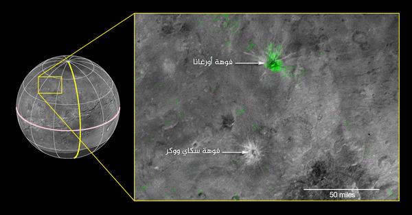 هذه الصورة المُركّبة مستقاة من الأرصاد التي أجرتها كل من أداة رالف ومقياس طيف الأشعة تحت الحمراء LEISA في تمام الساعة 10:25 بالتوقيت العالمي (6:25 صباحاً بتوقيت شرق الولايات المتحدة) بتاريخ 14 يوليو/تموز سنة 2015. كانت المركبة في ذلك الوقت تبعد 50 ألف ميلٍ (81 ألف كيلو متر) عن سطح شارون. كما تبلغ الدقة المكانية لهذه الصورة ٣ أميال ( 5كيلومترات) لكل بيكسل. تم إرسال بيانات أداة LEISA في اللفترة من 1 – 4 أكتوبر/تشرين الأول، وقد تمت معالجتها لإنتاج خريطةٍ تُظهر امتصاص جليد النشادر عند الطول الموجي البالغ ٢،٢ ميكرومتر. تم استخدام الصور البانكروماتية (أي الحساسة لجميع الألوان المرئية في الطّيف) المُلتقطة بواسطة المُصور الاستكشافي واسع الطيف LORRI كخلفية في هذه الصورة. وتم التقاط هذه الصور في تمام الساعة 8:33 بالتوقيت العالمي(4:33 صباحاً بتوقيت شرق الولايات المتحدة) بتاريخ 14 يوليو/تموز سنة 2015 حيث تبلغ دقتها 5.6 ميل (0.9 كيلومتر) لكل بيكسل، كما تم إرسالها إلى الأرض في الفترة ما بين 5-6 أكتوبر/تشرين الأول. تبدو خريطة امتصاص النشادر الملتقطة بأداة LEISA باللون الأخضر في صورة أداة LORRI. وتُغطي المنطقة الموجودة في الصندوق الأصفر مساحةً تمتد على 174 ميل (285 كيلومتر). المصدر: Credits: NASA/JHUAPL/SwRI