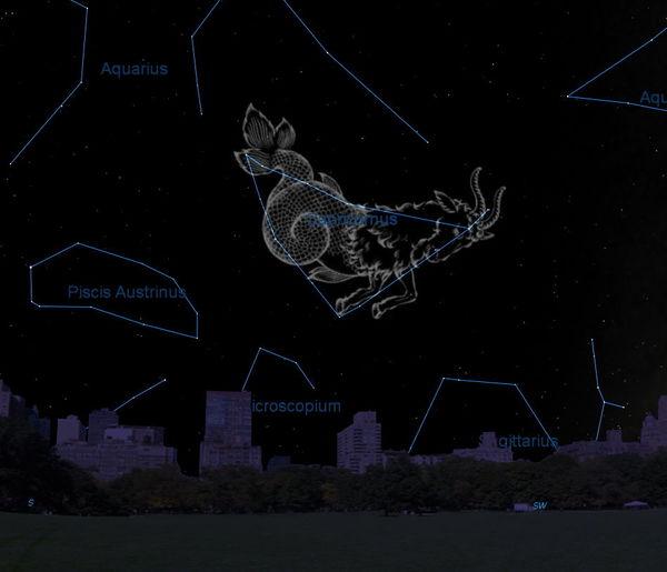تظهر خريطة السماء هذه موقع كوكبة الجدي في سماء تشرين الأول/أكتوبر كما تُرى من خطوط العرض الشمالية الوسطى.   مصدر الصورة: Starry Night Software