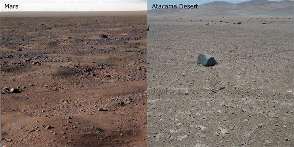 يمين الصورة: صحراء أتاكاما / يسار الصورة: المريخ (NASA/Alessandro Airo, TU Berlin)