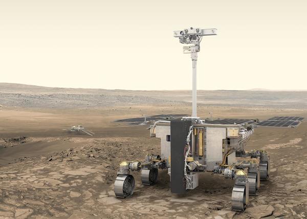 صورة فنية لمركبة روزاليند فرانكلين الجوالة، التي تخطط أوروبا لإرسالها إلى سطح المريخ في مارس/آذار 2021. حقوق الصورة: ESA/ATG medialab