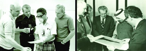 مع طاقم ASTP من اليسار إلى اليمين توم ستافورد Tom Stafford، فينس براند Vance Brand، ديك سلايتون Deke Slayton، وخلال الزيارة إلى قطر مع الشيخ خليفة الثاني.