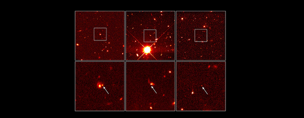 المستعرّ الأعظم الذي رصده هابل سنة 1998  حقوق الصورة: Garnavich (Harvard-Smithsonian Center for Astrophysics)/ The High-z Supernova Search Team/ and NASA