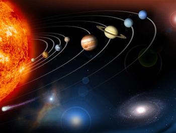 طول العام هو تقريبا الوقت الذي تستغرقه الأرض (الكوكب الثالث من الوسط) للدوران حول الشمس مرة واحدة.  (المصدر: NASA / JPL).