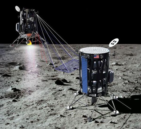 صورة فنية لمركبة الهبوط القمرية الخاصة بشركة انتوتف ماشينز Intuitive Machines نوفا-سي على سطح القمر.  حقوق الصورة: Intuitive Machines.