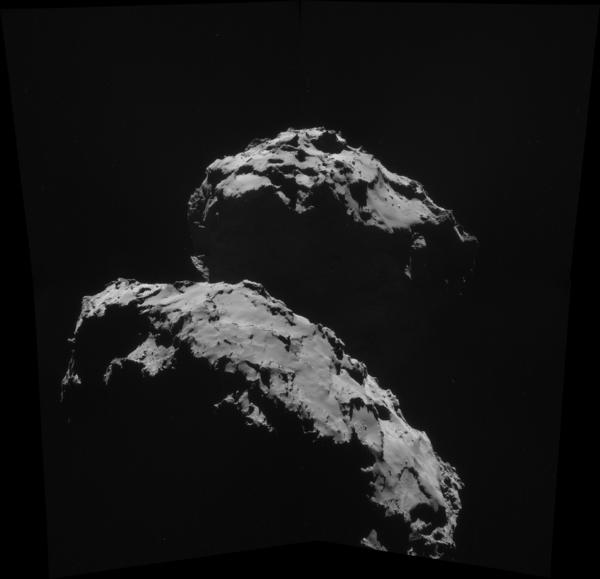 صورة مُركَّبة من أربع صور التقطت بواسطة الكاميرا NAVCAM للمذنب 67P/Churyumov-Gerasimenko في العاشر من أيلول/سبتمبر عندما كانت روزيتا على بعد 27.8 كم من المذنب. المصدر: ESA/Rosetta/NAVCAM