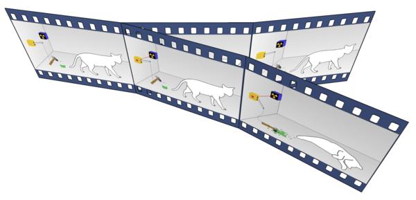 قام الفيزيائي إرفين شرودنجر Erwin Schrödinger بتصميم التجربة الفكرية المشهورة، التي تكون فيها قطة موجودة في صندوق، وتكون هذه القطة في حالة تراكب مكونة من حالتين: حيةٍ أو غيرِ حية. بحسب تفسير إفريت، فعندما تقوم بفتح الصندوق وملاحظة القطة، ينقسم العالم إلى فرعين: تكون القطة في أحدهما ميتة، وفي الآخر حية. Image: Dc987