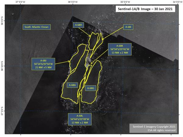 صورة قمر صناعي تبين انقسام جبل A68a. حقوق الصورة: ESA