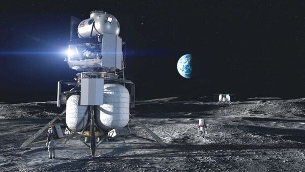 يتضمن هذا التصور لمركبة الهبوط القمرية لأرتميس الذي صممه فريق بلو أوريجن الوطني أنظمة طورها الزملاء في الفريق Lockheed Martin وNorthrop Grumman وDraper. حقوق الصورة: Blue Origin