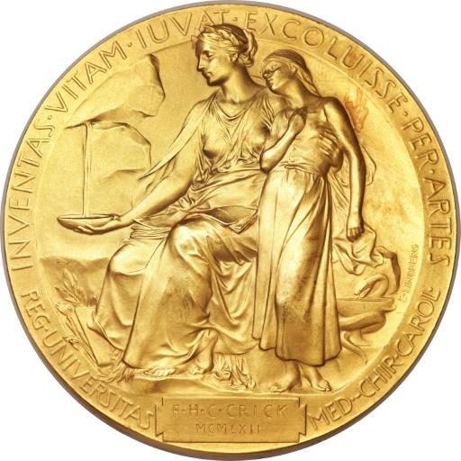 تُظهر هذه الصورة ميدالية جائزة نوبل لعام 1962 والتي مُنحت للدكتور فرانسيس كريك Francis Crick لاكتشافه تركيب الحمض النووي.