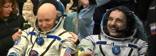 رائد فضاء ناسا وقائد البعثة 46 سكوت كيلي Scott Kelly ونظيره الروسي ميخائيل كورنينكو Mikhail Kornienko يستمتعان بالهواء النقي البارد لدى عودتهما إلى الأرض بعد مهمة تاريخية استغرقت 340 يوماً على متن محطة الفضاء الدولية.