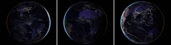 توفر الصور الثلاث المركبة مشاهد لنصفي الكرة الأرضية أثناء الليل. إن الغيوم وأشعة الشمس المضافة للصور لتعطي تأثيرًا جماليًا مأخوذة من أداة موديس MODIS التي تغطي السحب وسطح الأرض. حقوق الصورة: NASA Earth Observatory images by Joshua Stevens, using Suomi NPP VIIRS data from Miguel Román, NASA's Goddard Space Flight Center