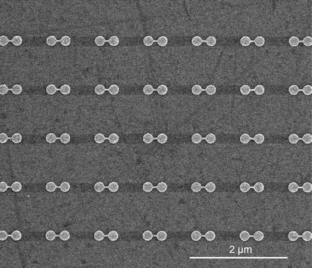 أزواج مترابطة من الأقراص النانوية كما تمّت مشاهدتها بالاعتماد على المسح باستخدام المجهر الإلكتروني. المصدر: Fangfang Wen/Rice University