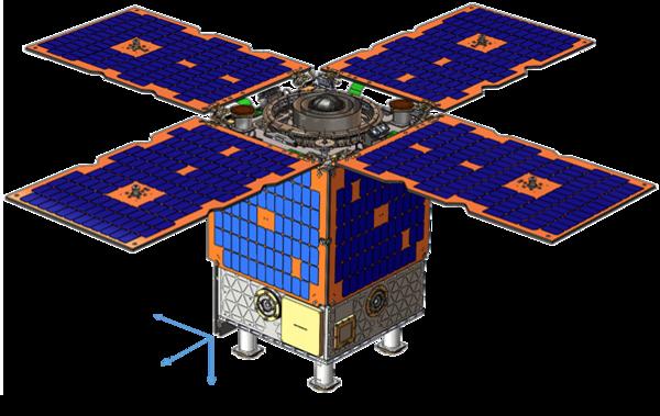 صورة للقمر الصناعي التابع للقوات الجوية الأمريكية والذي سيحمل على متنه الساعة الذرية. حقوق الصورة:  NASA/JPL