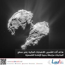 ها قد أتت الشمس: الانفجارات المائية على سطح المذنبات مرتبطةٌ بدورة الإضاءة الشمسيَّة