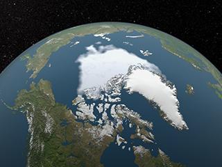 التصور للحد الأدنى للجليد البحري في القطب الشمالي لعام 2012، وهو أقل رقم قياسي مُسجّل.