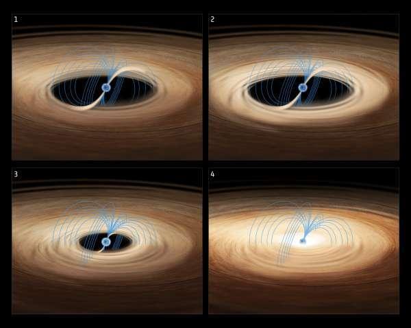 (تصور فني لنظام نجمي نابض سريع الومضان Rapid Burster ) Credit: ESA/ATG medialab