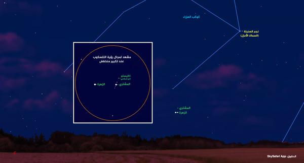 انظر بشكل منخفض للسماء الشرقية بين الساعة 05:30 صباحا بالتوقيت المحلي وشروق الشمس يوم 13 تشرين الثاني/نوفمبر لرؤية كوكب الزهرة على مسافة 0.25 درجة قوسية إلى يسار كوكب المشتري.