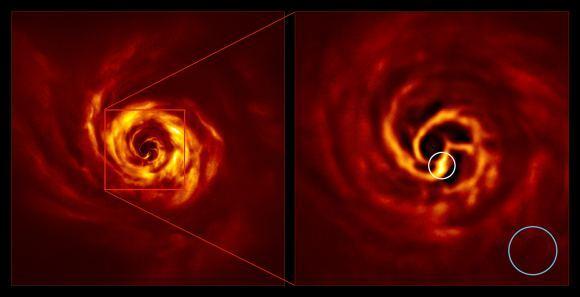 """القرص المحيط بنظام أورجاي AB. الصورة على اليمين هي نسخة مكبرة من المنطقة المشار إليها بمربعٍ أحمر في الصورة على اليسار. تظهر الصورة المنطقة الداخلية للقرص، بما في ذلك """"الالتواء"""" الأصفر شديد السطوع (داخل الدائرة البيضاء) الذي يعتقد العلماء أنه يشير لمكان تشكل الكوكب. يبعد هذا الالتواء عن نجم أورجاي AB نفس المسافة الفاصلة بين نبتون والشمس. تمثل الدائرة الزرقاء مساحة مدار نبتون. التُقطت الصور باستخدام أداة سفير الخاصة بالتلسكوب الكبير جداً في المرصد الأوروبي الجنوبي. حقوق الصورة: ESO / Boccaletti et al، 2020"""