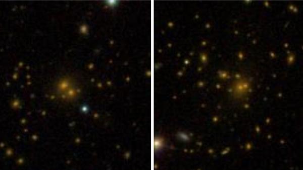 تظهر المقارنة بين العناقيد المجرية في فهرس المجرات DR8 التابع لمشروع سلون الرقمي المخصص لمسح واستكشاف السماء، وجود عنقود مجري تنتشر المجرات فيه على مساحة واسعة (الجانب الأيسر من الصورة)، وعنقود آخر أكثر كثافة واكتظاظاً (الجانب الأيمن). تشير الدراسة الجديدة إلى أن هذه الفروقات مرتبطة بالبيئة المحيطة بالعنقود المجري والمليئة بالمادة المظلمة.  المصدر: Sloan Digital Sky Survey