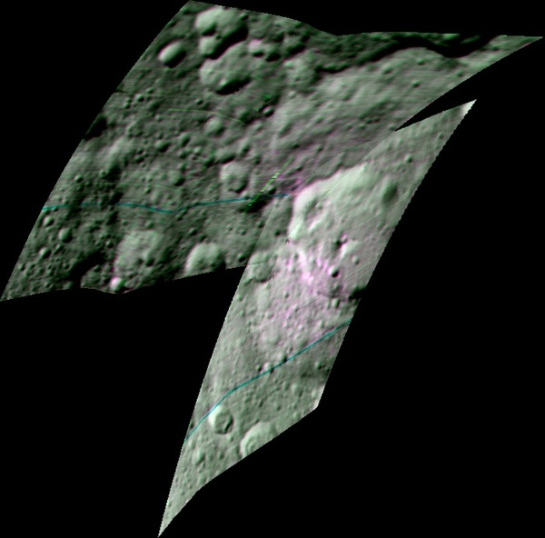 ﺻﻮﺭﺓ ﻣﺤﺴﻨﺔ ﻭﻣﺮﻛﺒﺔ ﻣﻦ ﻣﻄﻴﺎﻑ ﺭﺳﻢ ﺍﻟﺨﺮﺍﺋﻂ ﺑﺎﻷﺷﻌﺔ ﺍﻟﻤﺮﺋﻴﺔ ﻭﺗﺤﺖ ﺍﻟﺤﻤﺮﺍﺀ ﺗُﻈﻬﺮ ﺍﻟﻤﻨﻄﻘﺔ ﺍﻟﻤﺤﻴﻄﺔ ﺑﻔﻮﻫﺔ إرنوتيت Ernutet على ﺳﻴﺮﻳﺲ. ﺍﺳﺘﻄﺎﻉ ﺍﻟﺠﻬﺎﺯ ﻛﺸﻒ ﺩﻟﻴﻞ على ﻭﺟﻮﺩ موﺍﺩ عضوﻳﺔ ﻓﻲ ﻫﺬﻩ ﺍﻟﻤﻨﻄﻘﺔ ﻛﻤﺎ ﻭﺭﺩ ﻓﻲ ﺩﺭﺍﺳﺔ ﻧﺸﺮﺕ ﻓﻲ 2017 ﻓﻲ ﻣﺠﻠﺔ journal Science.  ﻳﻈﻬﺮ ﻓﻲ ﺍﻟﺼﻮﺭﺓ ﺍﻟﻤﻨﺎﻃﻖ ﺍﻟﻤﺎﺋﻠﺔ ﻟﻠﻮﻥ ﺍﻟﻮﺭﺩﻱ ﺑﺎﻟﻤﻘﺎﺭﻧﺔ ﻣﻊ ﺑﻘﻴﺔ أﺟﺰﺍء ﺍﻟﺼﻮﺭﺓ ﻭﺍﻟﺘﻲ ﺗﺪﻝ ﻋﻠﻰ ﻭﻓﺮﺓ ﺍﻟﻤﻮﺍﺩ ﺍﻟﻌﻀﻮﻳﺔ ﻓﻴﻬﺎ ﻋﻠﻰ ﻋﻜﺲ ﺍﻟﻤﻨﺎﻃﻖ ﺍلخضراء ﺍﻟﺘﻲ ﺗﺪﻝ ﻋﻠﻰ ﻗﻠﺔ ﺍﻟﻤﻮﺍﺩ ﺍﻟﻌﻀﻮﻳﺔ ﻓﻴﻬﺎ ﻭﻳﻈﻬﺮ ﺍﻟﻀﻮﺀ الأﺯﺭﻕ ﺑﻄﻮﻝ ﻣﻮﺟﻲ 2000 ﻧﺎﻧﻮﻣﺘﺮ، ﻭﺍﻟﻠﻮﻥ الأﺧﻀﺮ ﺑـ 3400 ﻧﺎﻧﻮﻣﺘﺮ، ﻭﺍﻟﻀﻮﺀ ﺍﻷﺣﻤﺮ ﺑـ 1700 ﻧﺎﻧﻮﻣﺘﺮ.  مصدر الصورة : NASA/JPL-Caltech/UCLA/ASI/INAF