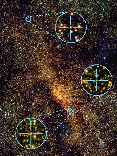 استخدمت ثلاثة نجوم قيفاوية متغيرة نابضة لقياس مسافة وعمر الأجسام الظاهرة في قلب مجرة درب التبانة. التقطت هذه الصورة عن طريق مرصد جنوب أفريقيا الفلكي وصدرت في 24 آب/أغسطس 2011.  حقوق الصورة: N. Matsunaga